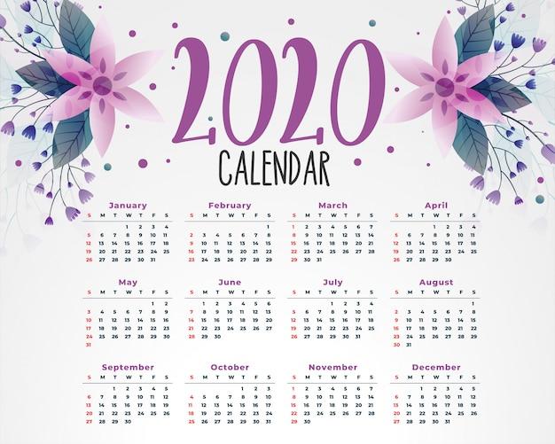 2020 bloem kalender sjabloon Gratis Vector