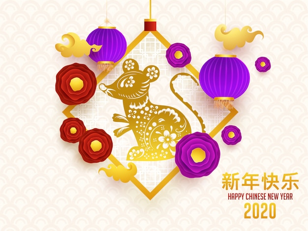 2020 gelukkig chinees nieuwjaar wenskaartontwerp met rat zodiac sign Premium Vector