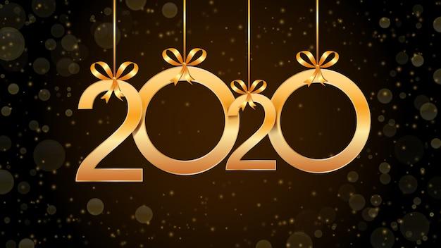 2020 gelukkig nieuwjaar abstract met hangende gouden cijfers, glitter en bokeh-effect. Premium Vector