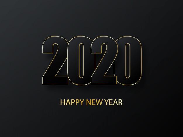 2020 gelukkig nieuwjaar achtergrond. luxe donker met gouden groet. cover van bedrijfsdagboek voor 2020 met wensen. groeten en uitnodigingen, felicitaties met kerstthema en kaarten. Premium Vector