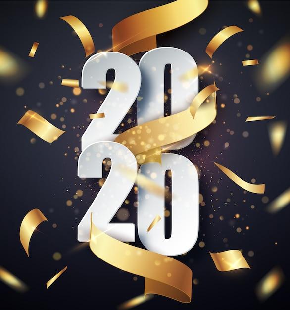 2020 gelukkig nieuwjaar achtergrond met gouden geschenk lint, confetti, witte cijfers. kerst vieren. feestelijke premium concept sjabloon voor vakantie Premium Vector