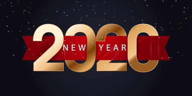 2020 gelukkig nieuwjaar banner Premium Vector
