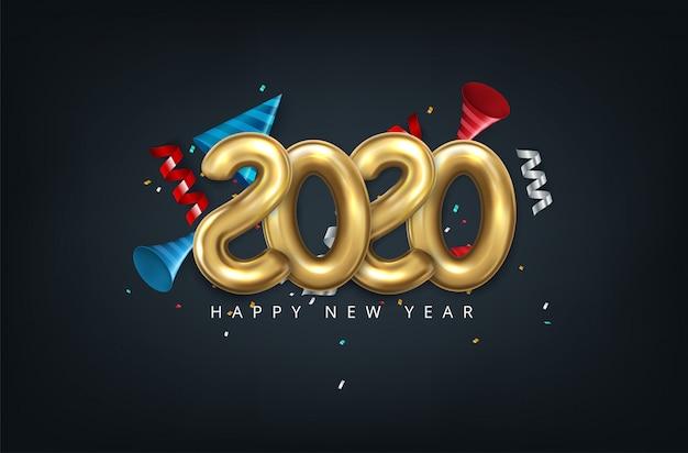 2020 gelukkig nieuwjaar in goud. getallen minimalistische stijl 2020 ballon geïsoleerd Premium Vector