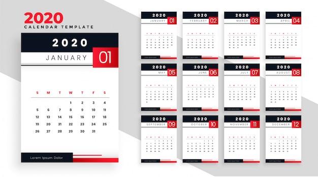 2020 gelukkig nieuwjaar kalender lay-out sjabloonontwerp Gratis Vector