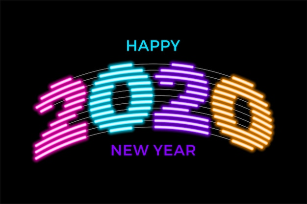2020 gelukkig nieuwjaar lichtgevende neon creatieve achtergrond sjabloon Premium Vector