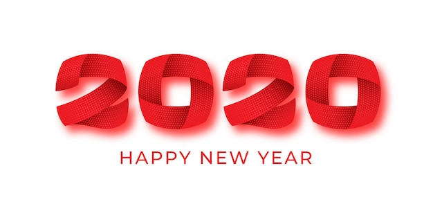 2020 gelukkig nieuwjaar rode cijfer tekstbanner, 3d abstracte nummers, winter vakantie kaart ontwerp. Premium Vector