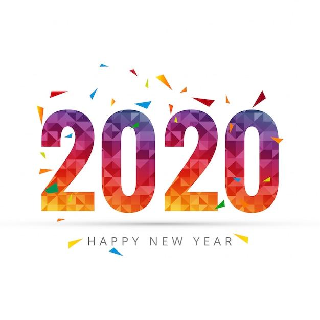 2020 gelukkig nieuwjaar tekst voor wenskaart Gratis Vector