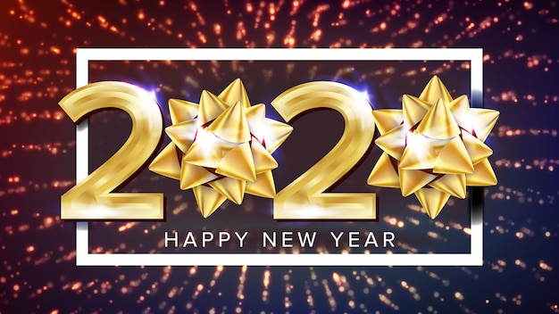 2020 gelukkig nieuwjaar vakantie elegante poster Premium Vector