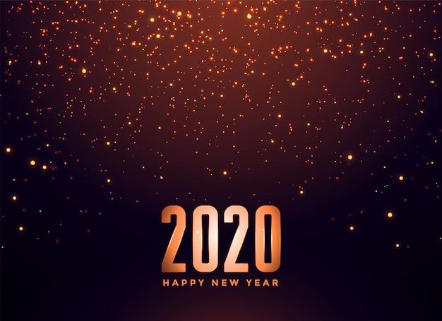 2020 gelukkig nieuwjaar vallende sparkles achtergrond Gratis Vector