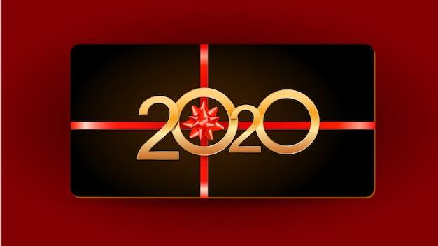 2020 gelukkig nieuwjaar zwarte kaart met gouden cijfers, lint en cadeau boog geïsoleerd op rood Premium Vector