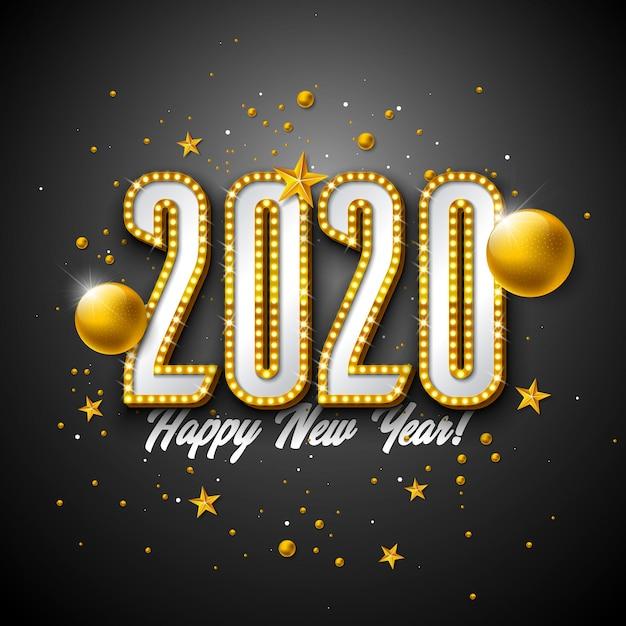 2020 gelukkige nieuwjaarillustratie met het 3d van letters voorzien van de gloeilamptypografie en kerstmisbal op zwarte achtergrond. Premium Vector