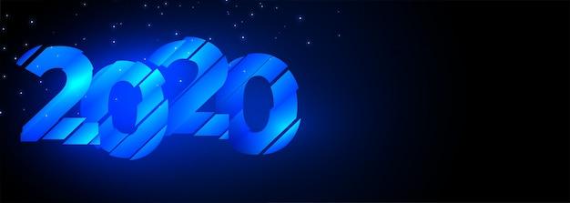 2020 gloeiende blauwe creatieve gelukkige nieuwe jaarbanner Gratis Vector