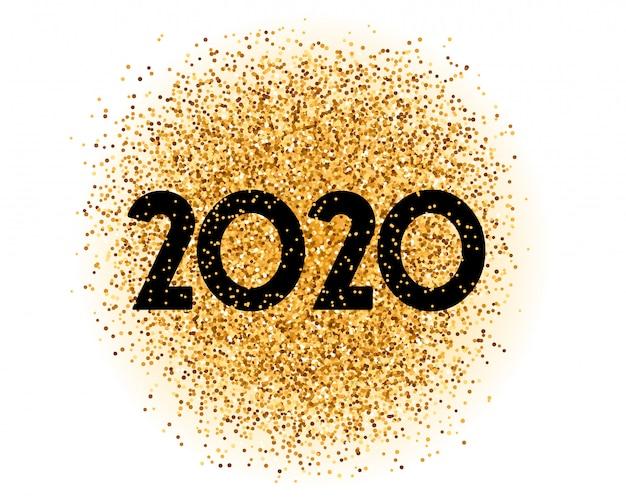 2020 gouden glitter gelukkig nieuwjaar stijlvolle kaart Gratis Vector