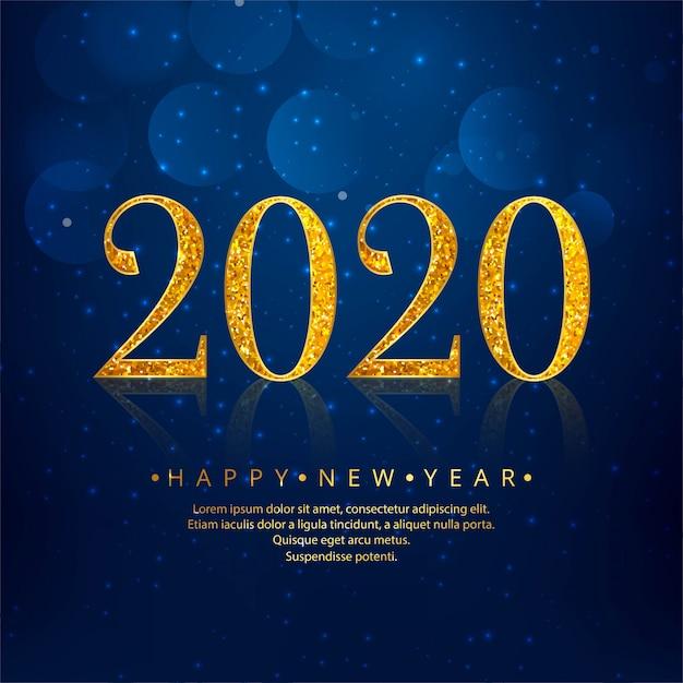 2020 gouden nieuwjaar blauwe vakantie Gratis Vector
