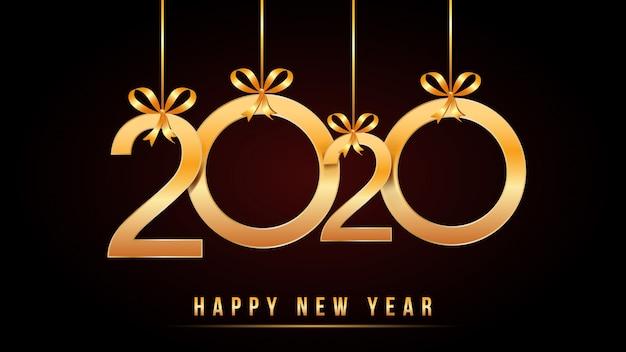 2020 happy new year-tekst met gouden cijfers met hangende gouden cijfers en lintbogen die op zwarte worden geïsoleerd Premium Vector