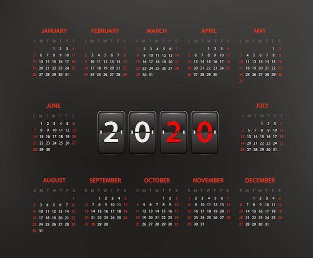 2020 jaarkalender sjabloon, bewerkbare lay-out Premium Vector