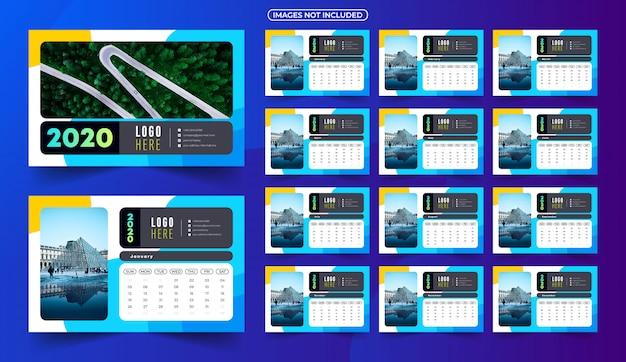 2020 kalender met afbeeldingen Premium Vector