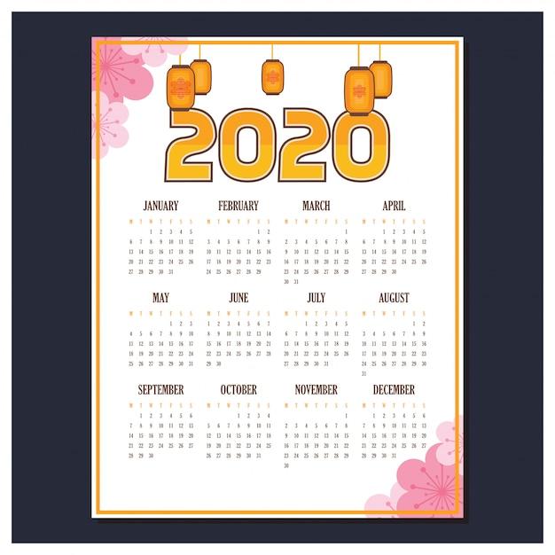 2020 kalender met aziatische thema Premium Vector