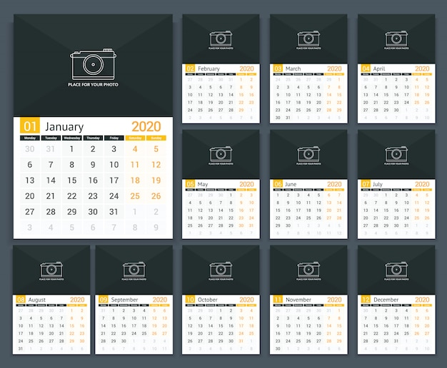 2020 kalender Premium Vector