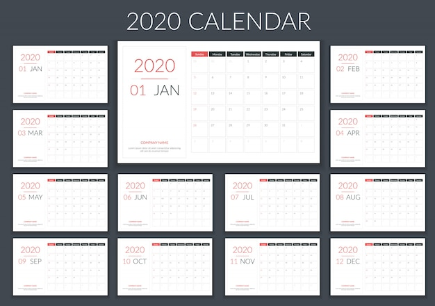 2020 kalenderplanner Premium Vector