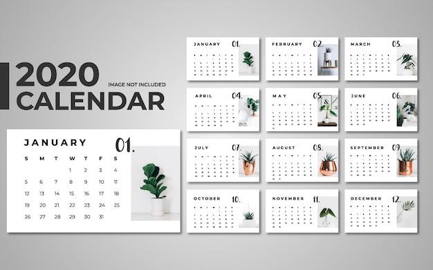 2020 kalendersjabloon Premium Vector