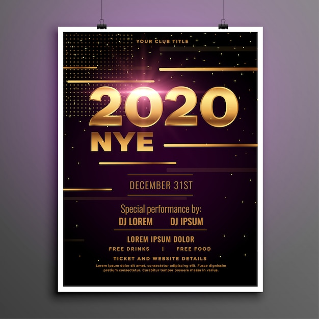 2020 new year eve party gouden folder sjabloon Gratis Vector