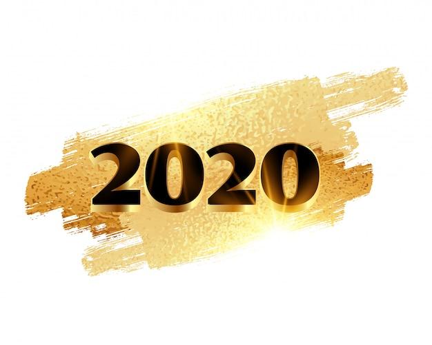 2020 nieuwe jaar gouden glanzende achtergrond Gratis Vector