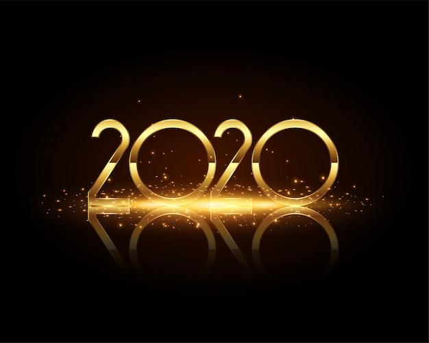2020 nieuwe jaar gouden tekst op zwarte kaart Gratis Vector