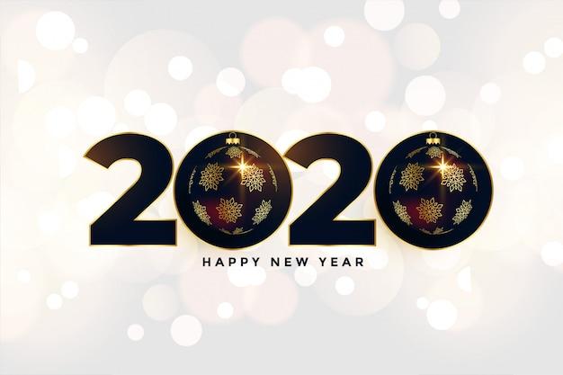2020 nieuwe jaar mooie groet in kerstmisstijl Gratis Vector