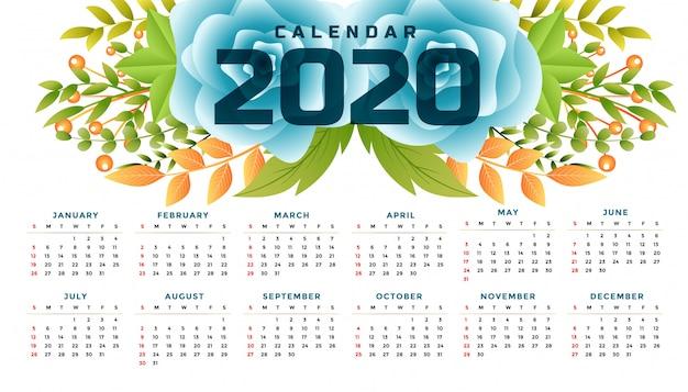 2020 nieuwjaar bloem kalender breed sjabloonontwerp Gratis Vector