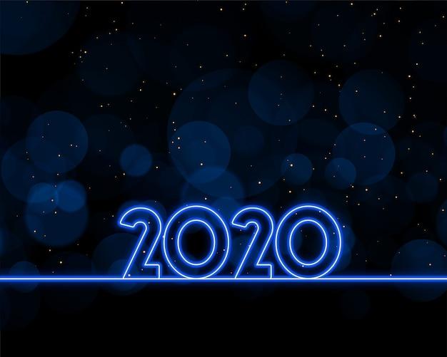 2020 nieuwjaar geschreven in blauwe neonstijl Gratis Vector
