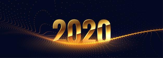 2020 nieuwjaar in gouden stijl met deeltjesgolf Gratis Vector