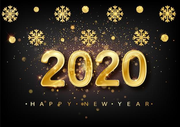 2020 nieuwjaarsachtergrond. vakantie label met gevallen gouden glitter confetti over zwart Premium Vector