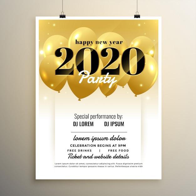2020 nieuwjaarsfeest cover sjabloonontwerp met ballonnen Gratis Vector