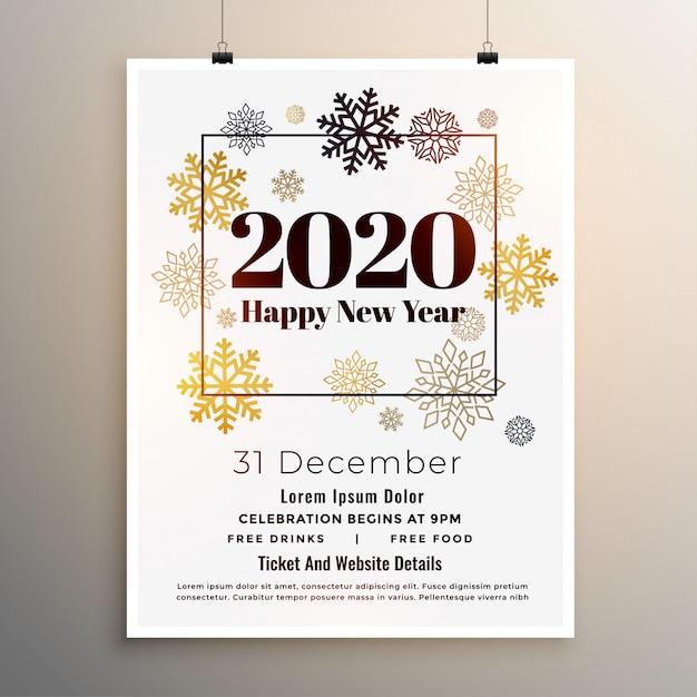 2020 nieuwjaarsfeest flyer poster sjabloon in witte thema Gratis Vector