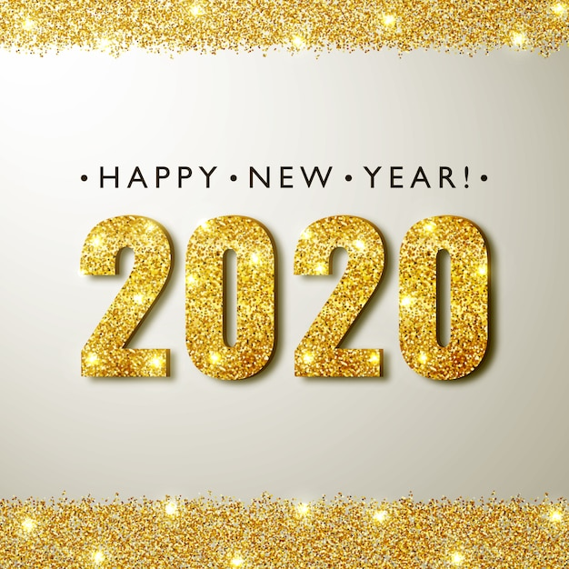 2020 nieuwjaarswenskaart Premium Vector