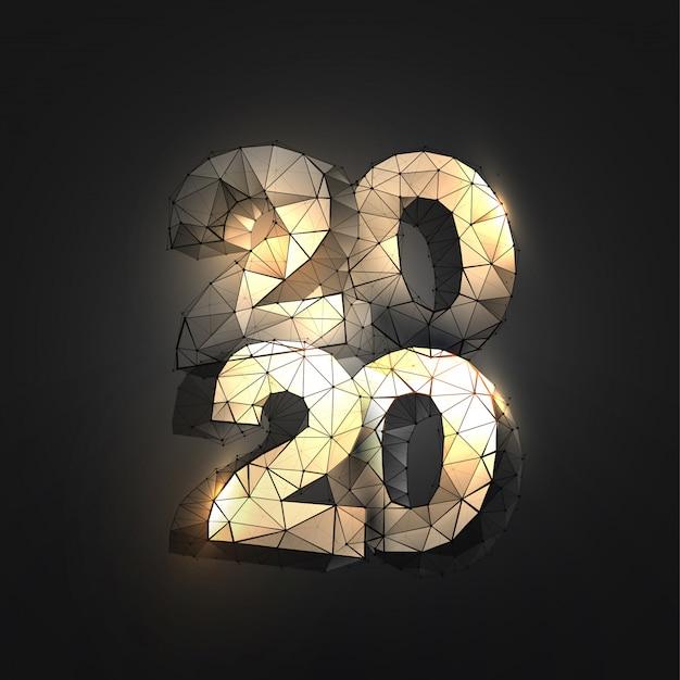 2020-nummers in veelhoekige draadframe-stijl Premium Vector