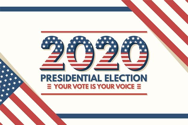 2020 presidentsverkiezingen in de achtergrond van de vs met vlag Premium Vector