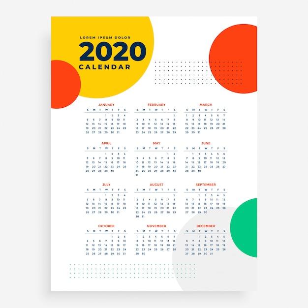 2020 verticaal nieuwjaarskalenderontwerp in moderne stijl Gratis Vector
