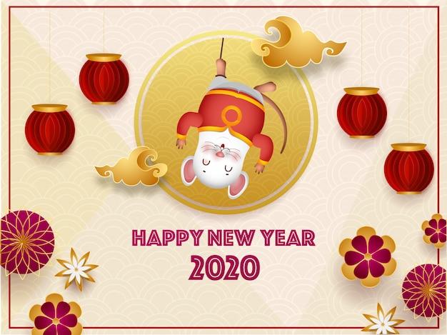 2020 viering wenskaart met cartoon rat opknoping, papier gesneden lantaarns en bloemen op naadloze cirkel golf voor gelukkig chinees nieuwjaar. Premium Vector