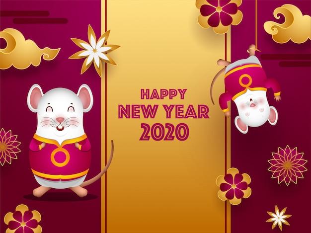 2020 viering wenskaart versierd met papier snijbloemen, wolk en cartoon ratten voor gelukkig chinees nieuwjaar. Premium Vector