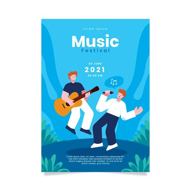 2021 geïllustreerde muziekfestivalaffiche Gratis Vector