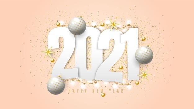 2021 gelukkig nieuwjaar achtergrond met cadeau ballen, confetti en lichten Gratis Vector