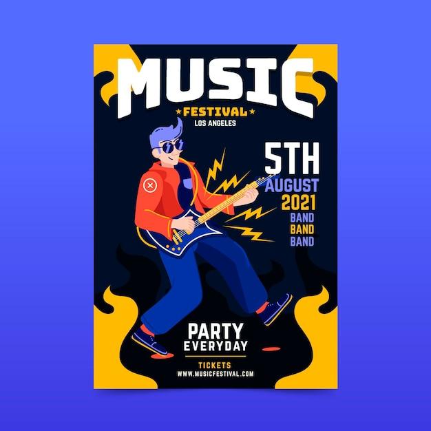 2021 ilustrated muziekfestival poster thema Gratis Vector