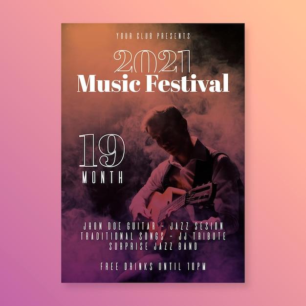 2021 muziekevenement poster Premium Vector