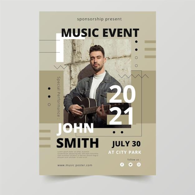 2021 muziekevenementposter met foto Gratis Vector