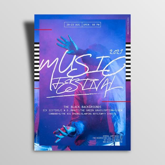 2021 muziekfestival poster Gratis Vector