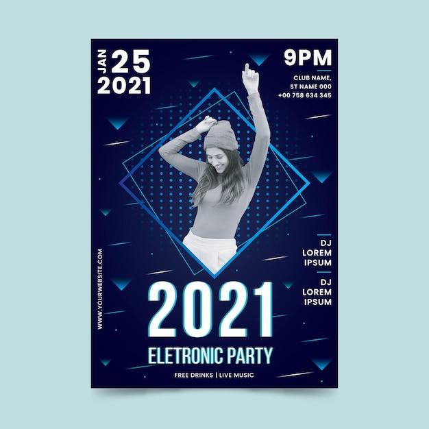 2021 poster voor muziekevenementen in memphis-stijl met foto Gratis Vector