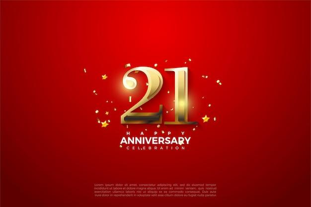 21e verjaardag achtergrond met glanzende gouden cijfers op rode achtergrond. Premium Vector