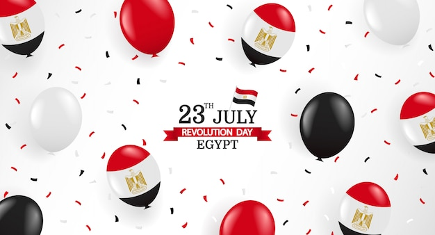 23 juli, revolutiedag egypte. wenskaart met ballonnen en confetti. Premium Vector